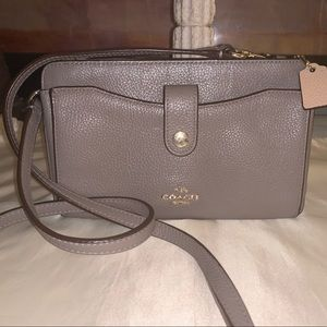 Coach taupe pebbled leather crossbody bag